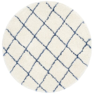 Armstead Ivory/Blue Area Rug Rug Size: Round 5