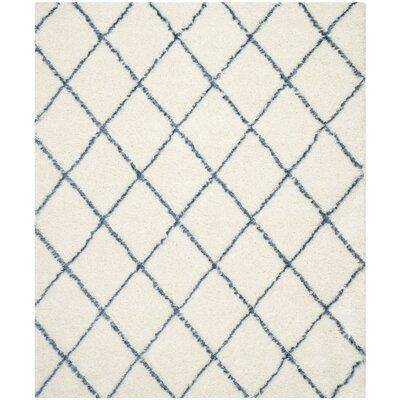 Armstead Ivory & Blue Geometric Contemporary Area Rug Rug Size: 6' x 9'