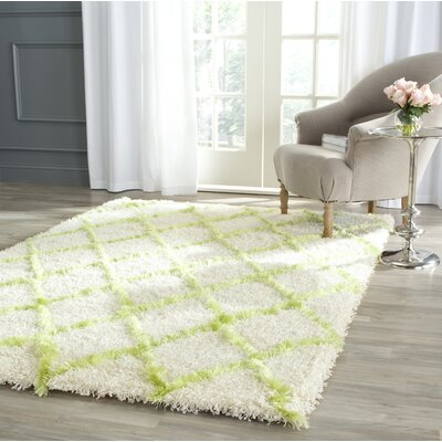 Armstead Ivory / Green Geometric Contemporary Area Rug