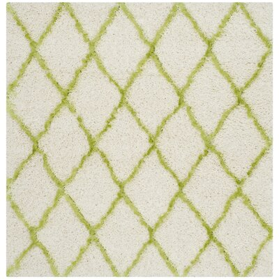 Armstead Ivory / Green Geometric Contemporary Area Rug Rug Size: Square 5'