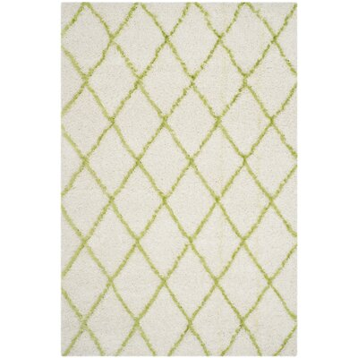 Armstead Ivory / Green Geometric Contemporary Area Rug Rug Size: 6' x 9'