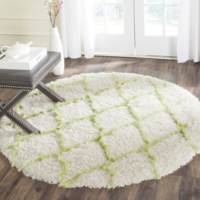 Armstead Ivory / Green Geometric Contemporary Area Rug Rug Size: Round 5'