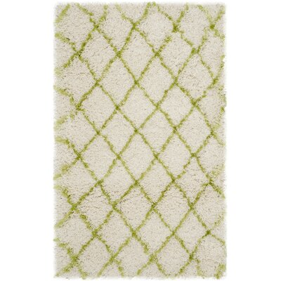 Armstead Ivory / Green Geometric Contemporary Area Rug Rug Size: 3'3