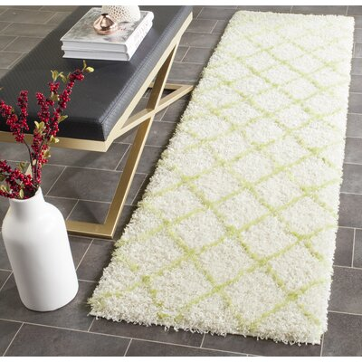 Armstead Ivory / Green Geometric Contemporary Area Rug Rug Size: Runner 2'3