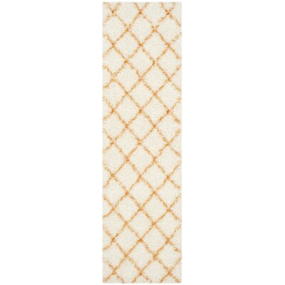 Armstead Ivory/Tangerine Geometric Area Rug Rug Size: Runner 23 x 8