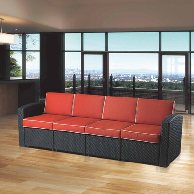 Loggins Sofa with Cushions Color: Orange