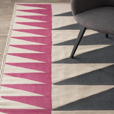 Catchings Hand-Woven Charcoal/Magenta Area Rug Rug Size: 2 x 3