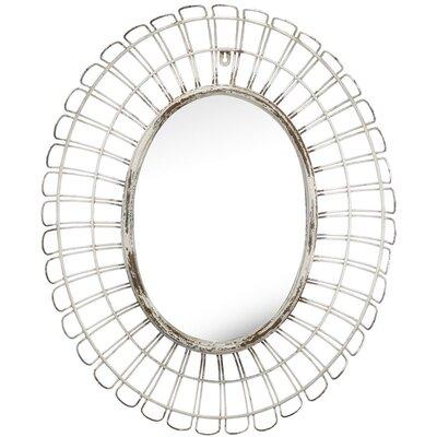 Brayden Studio Oval Cream Metal & Glass Mirror