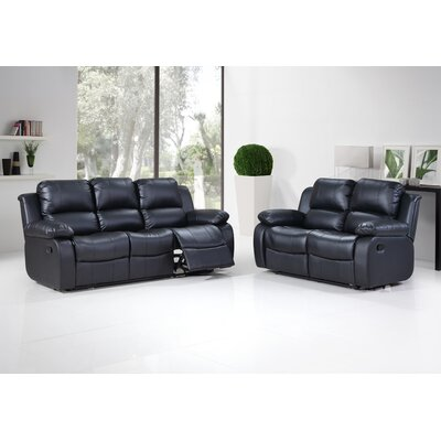 Kenos Sofa and Loveseat Set Upholstery: Black