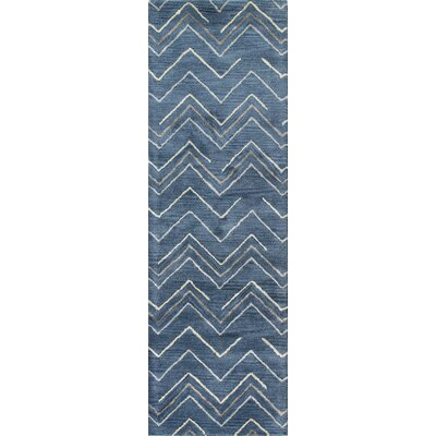 Fornax Hand-Tufted Azure Area Rug Size: Runner 26 x 8