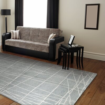 Fornax Hand-Tufted Light Blue Area Rug Size: 86 x 116