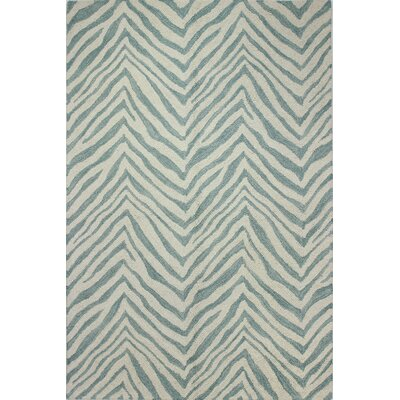 Forontenac Hand-Tufted Ivory / Aqua Area Rug Rug Size: Rectangle 36 x 56