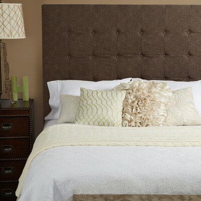 Franklin Square Linen Upholstered Panel Headboard Upholstery: Brown, Size: Queen