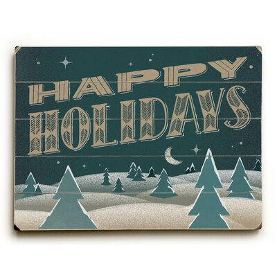 Happy Holidays Nighttime Graphic Art Plaque