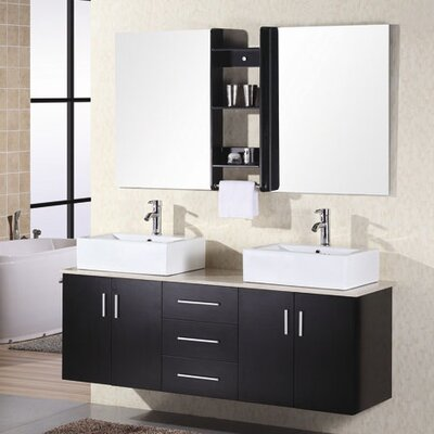 Newcastle 61 Double Bathroom Vanity Set with Mirror