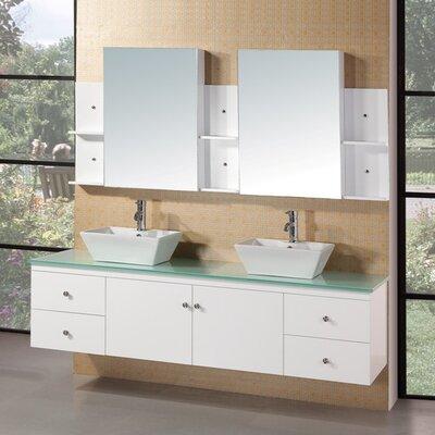 Newcastle 72 Floating Double Bathroom Vanity Set with Mirror Base Finish: White