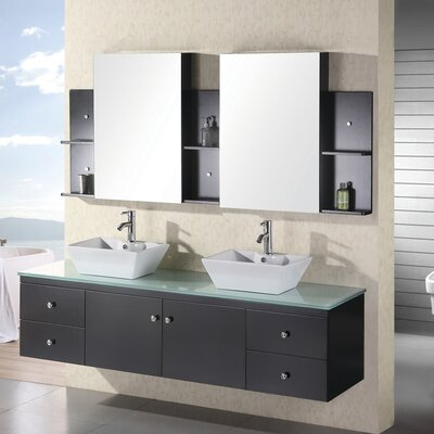 Newcastle 72 Floating Double Bathroom Vanity Set with Mirror Base Finish: Espresso