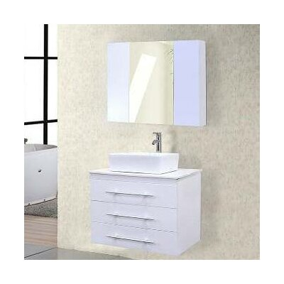 Newcastle 30 Single Bathroom Vanity Set with Mirror Base Finish: White