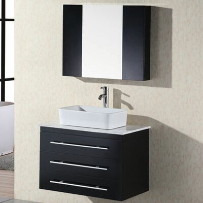 Newcastle 30 Single Bathroom Vanity Set with Mirror Base Finish: Espresso
