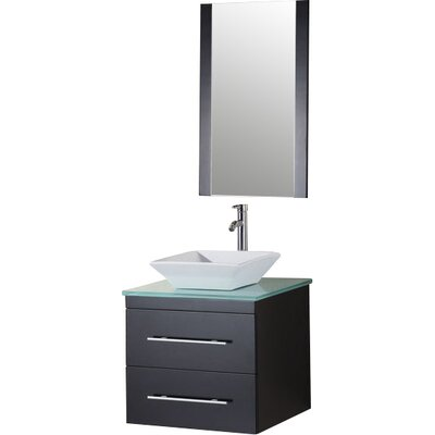 Newcastle 24 Single Bathroom Vanity Set with Mirror Top Finish: Tempered Glass