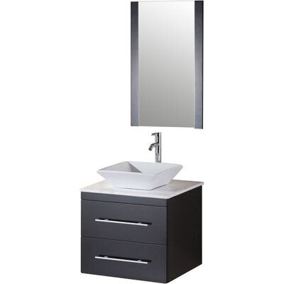 Newcastle 24 Single Bathroom Vanity Set with Mirror Top Finish: White Stone