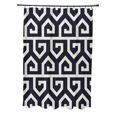 Minden Keyed Up Geometric Print Shower Curtain Color: Navy Blue