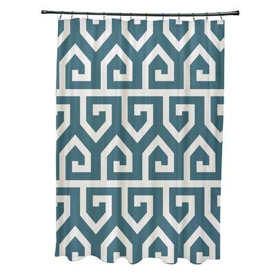 Minden Keyed Up Geometric Print Shower Curtain Color: Teal