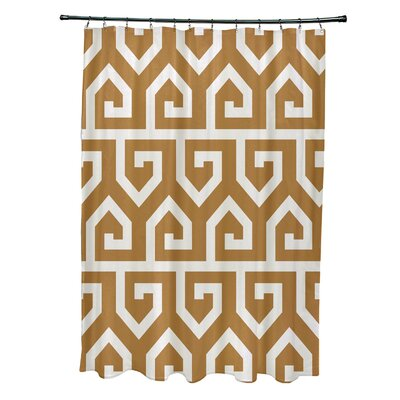 Minden Keyed Up Geometric Print Shower Curtain Color: Yellow