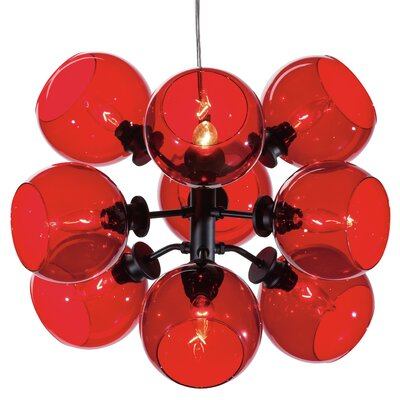 Gaius 9-Light Pendant Shade Color: Red