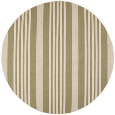 Eres Green/Beige Indoor/Outdoor Area Rug Rug Size: Round 710