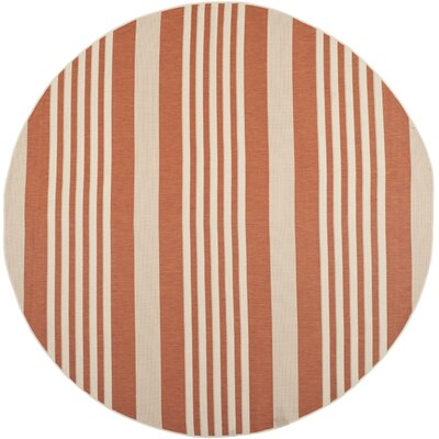 Eres Terracotta & Beige Outdoor Area Rug Rug Size: Round 710