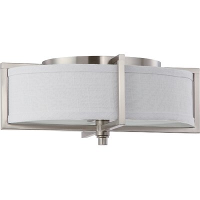 Benavidez 2-Light Flush Mount Finish / Shade Type / Bu Type: Hazel Bronze / Khaki Fabric / Incandescent
