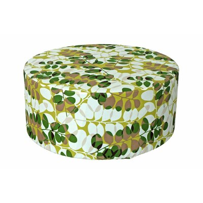 Bowlin Outdoor Pouf Ottoman Fabric: Green Floral
