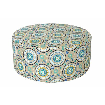 Bowlin Outdoor Pouf Ottoman Fabric: Teal Circles
