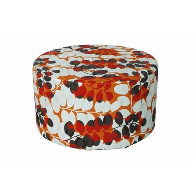 Armor Outdoor Pouf Ottoman Fabric: Red Floral