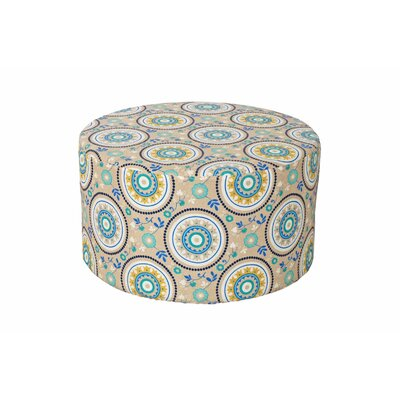 Armor Outdoor Pouf Ottoman Fabric: Teal Circles