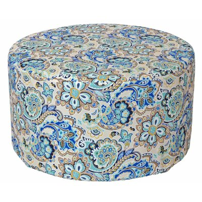 Armor Outdoor Pouf Ottoman Fabric: Blue Floral