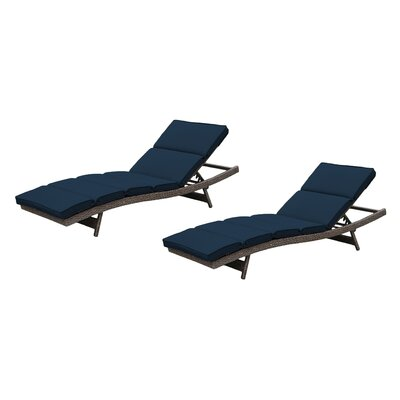 Fortenberry Chaise Lounge with Cushion Fabric: Ribbed Navy