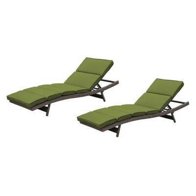 Fortenberry Chaise Lounge with Cushion Fabric: Ribbed Verde