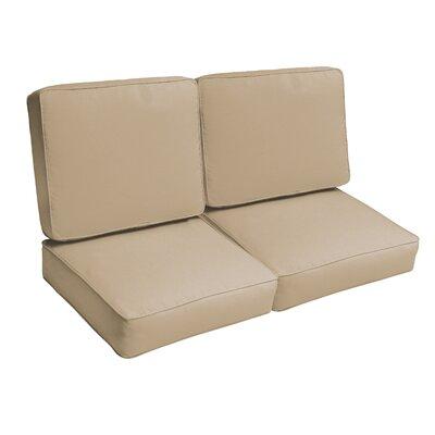 Indoor/Outdoor Loveseat Cushion Set Fabric: Beige