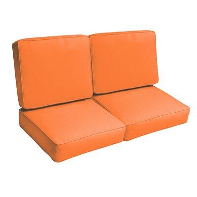 Indoor/Outdoor Loveseat Cushion Set Fabric: Bright Orange