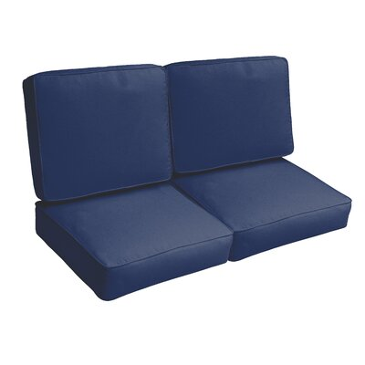 Indoor/Outdoor Loveseat Cushion Set Fabric: Dark Blue