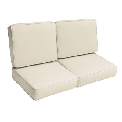 Indoor/Outdoor Loveseat Cushion Set Fabric: Ivory