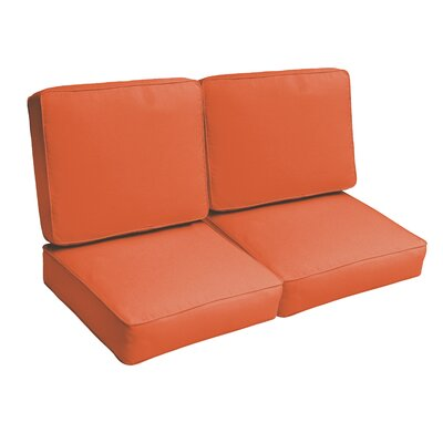 Indoor/Outdoor Loveseat Cushion Set Fabric: Mandarin Orange