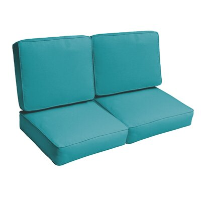 Indoor/Outdoor Loveseat Cushion Set Fabric: Aqua Blue