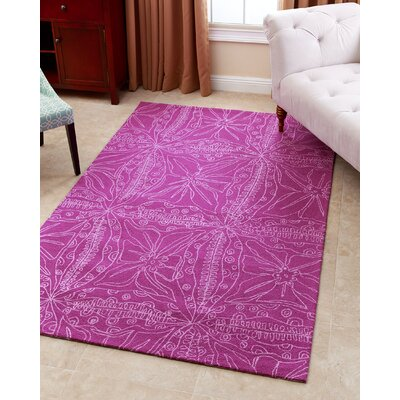 Ritner Hand-Tufted Magenta Area Rug Rug Size: 5 x 8