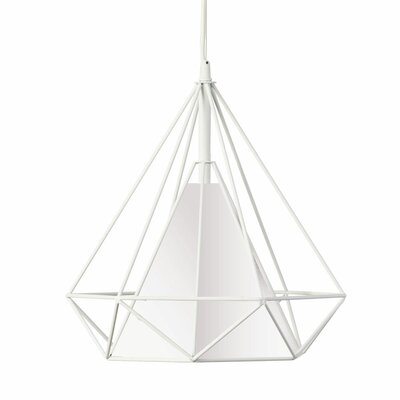 Kastel 1-Light Geometric Pendant Shade Color: White, Size: 15 H x 14  W x 14 D