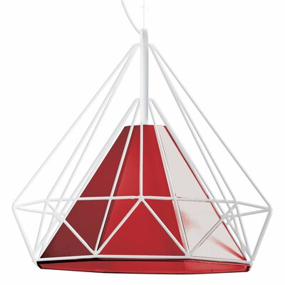 Kastel 1-Light Geometric Pendant Shade Color: Red, Size: 16 H x 18 W x 18 D