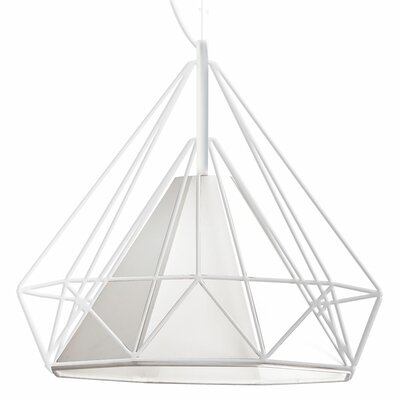 Kastel 1-Light Geometric Pendant Shade Color: White, Size: 16 H x 18 W x 18 D