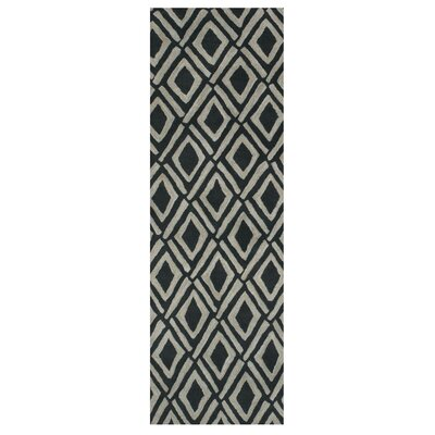 Pressley Gray/Black Area Rug Rug Size: Runner 26 x 8